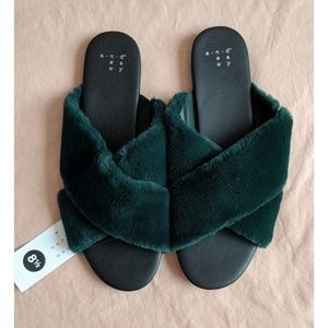 NWT A New Day fuzzy slides, sandals, slip ons